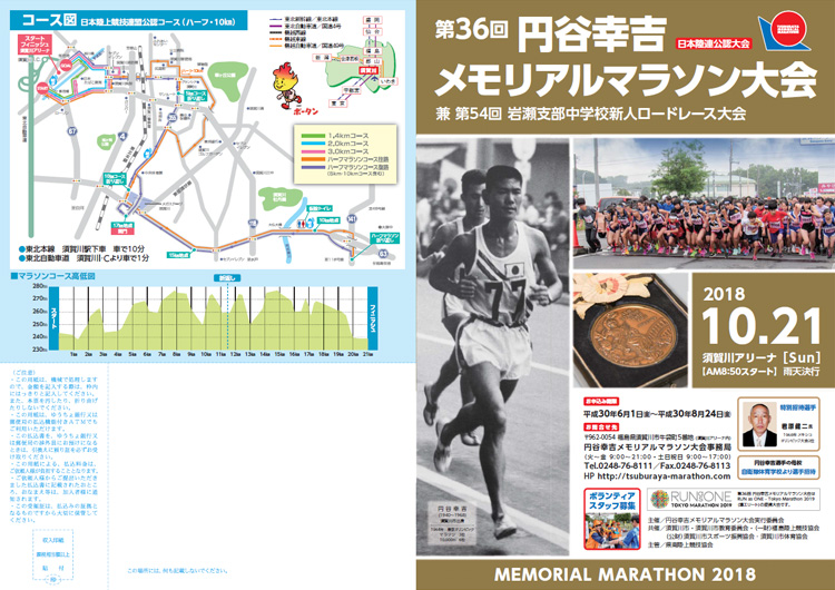 第36回 円谷幸吉メモリアルマラソン大会 パンフレット表面